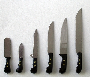 Knife set in Ebony wood 6 pieces 63E
