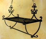 Wrought Iron Shield Design Hanging Pot Rack
