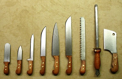 Knife set Cherry wood 9 pieces 63C9