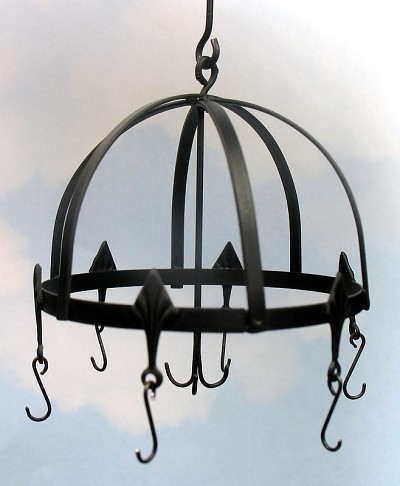 Wrought iron round hanging pot rack