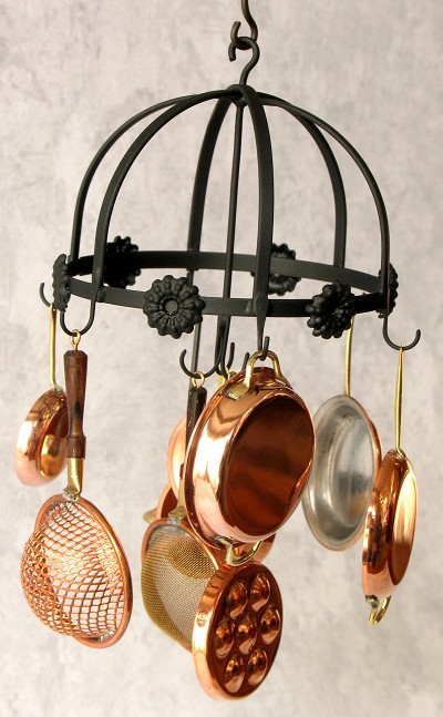 Wrought Iron Round Hanging Pot Rack with 8 pieces 54-set