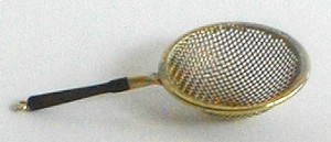 Copper and brass fine mesh strainer w/Rosewood handle