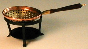 Brass and Copper Strainer on Stand