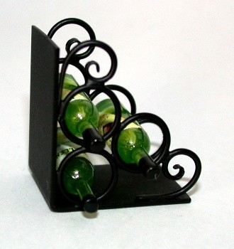Wrought Iron Wine Rack & Book End